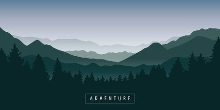 Illustration pour green foggy mountain and forest nature landscape vector illustration - image libre de droit