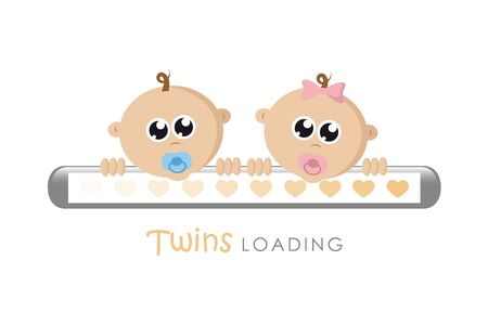 Illustration pour baby girl and boy twins loading bar with hearts vector illustration EPS10 - image libre de droit