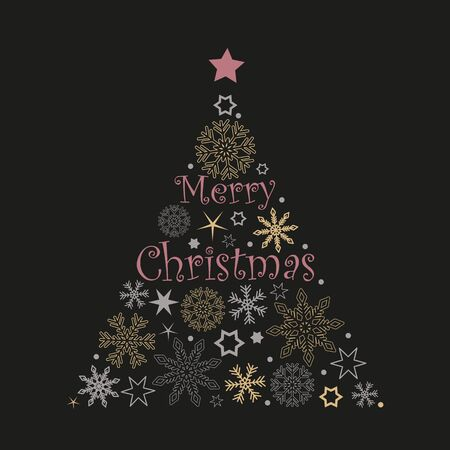 Illustration pour christmas tree snowflakes and stars in red and grey colors on white background vector illustration EPS10 - image libre de droit