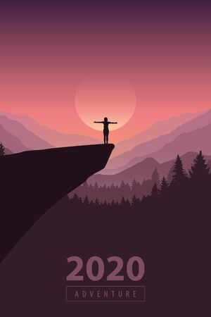 Illustration for hiking adventure 2020 girl on a cliff in at sunrise with mountain view vector illustration - Royalty Free Image