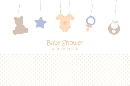 Illustration for baby shower welcome greeting card for childbirth with hanging utensils vector illustration EPS10 - Royalty Free Image