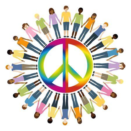 Illustration pour children with different skin color around peace symbol vector illustration EPS10 - image libre de droit