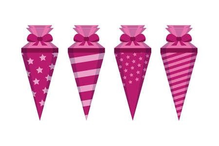 Illustration pour pink pattern school cone set isolated on white vector illustration EPS10 - image libre de droit