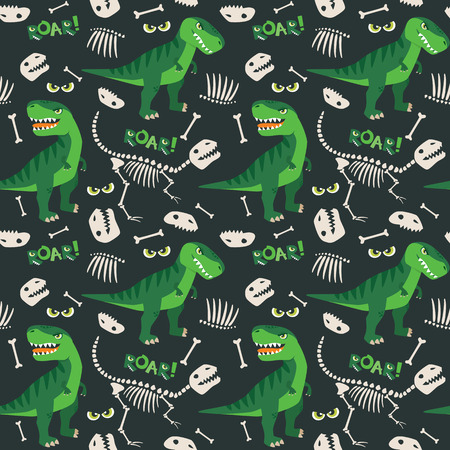 Illustration pour T Rex and Dino Bones Seamless Pattern - image libre de droit