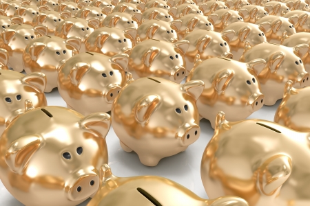 Many golden piggy banks