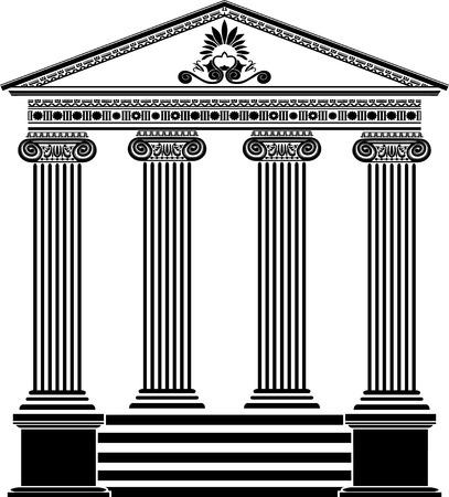 Greek temple stencil third variant with filigree ornament