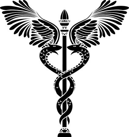 Medical symbol caduceus silhouette