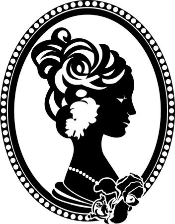 Vignette retro medallion with female profile