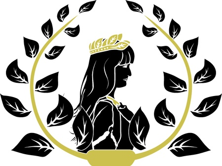 Illustration for Laurel wreath with patrician romane woman profile - Royalty Free Image