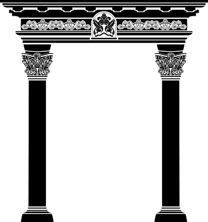 Classic arch with fiigree column and pattern vector illustration for web