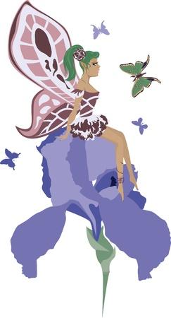 beautiful fairy sitting on an iris with butterflies