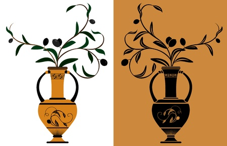Ancient Greek amphora with olive branches stencil and color variants