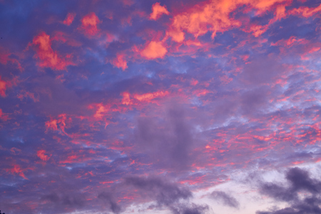 Colorful evening sky with purple, pink clouds