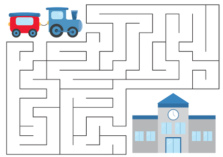 Illustration pour Educational maze game for preschool kids. Help the train. Vector illustration. - image libre de droit