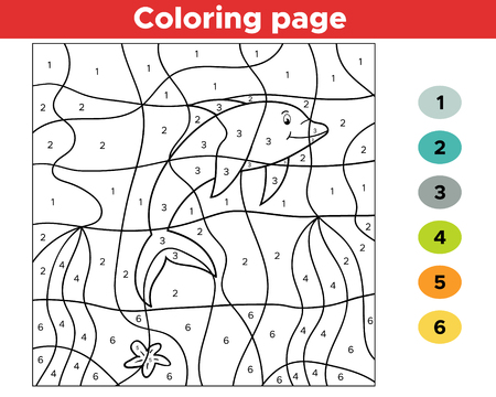 Illustration for Number coloring page for children. Cartoon dolphin. Undersea world. - Royalty Free Image