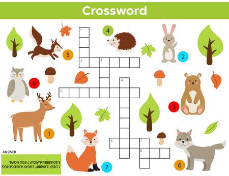 Foto de Vector Forest Animals Crossword in English. Education game for children with answer. Printable worksheet. Cute cartoon rabbit, fox, wolf, squirrel, owl, bear, deer, hedgehog. - Imagen libre de derechos