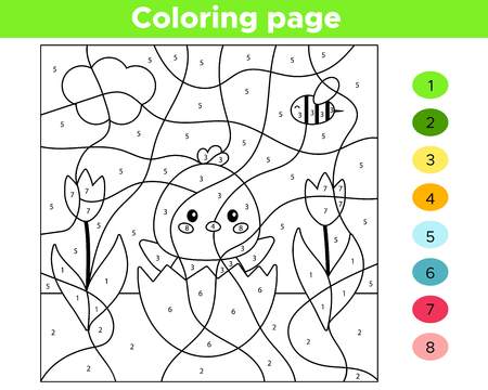 Illustration pour Educational number coloring page for preschool children. Vector kawaii chick hatched from egg. Spring flowers. - image libre de droit