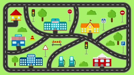 Illustration for Play mat for kids. Vector cartoon city car track. Cityscape with buildings, police station, school, fire station, hospital, shop and gas station. - Royalty Free Image