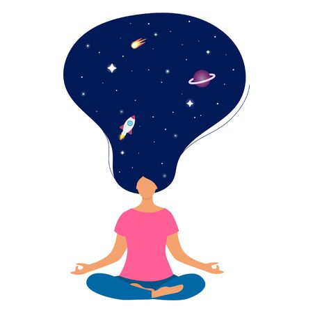 Woman practicing yoga. In the hair there is a space - stars, planet, comet and rocket. Communication with the cosmos. The concept of meditation. The lotus position. Flat vector illustration.