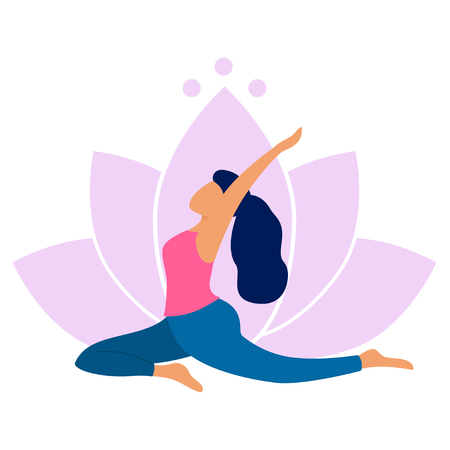 Illustration pour Young woman practicing yoga. She doing salamba kapotasana pose. Yoga exercise on lotus background. Vector flat style illustration. - image libre de droit