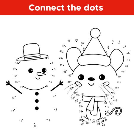 Illustration pour Educational number dot to dot game. Kawaii cartoon mouse character with snowman. Activity worksheet for kids. - image libre de droit