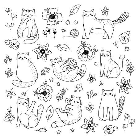 Illustration pour Vector set of doodle cats and flowers. Black and white illustration. Coloring page. Outline funny kittens. - image libre de droit