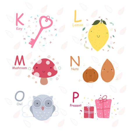 English alphabet with cute and funny characters in vector, learn to read K, L, M, N, O, P letters. Isolated stickers for children's booksのイラスト素材