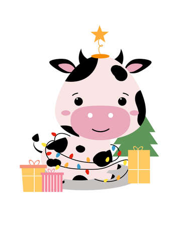 Illustration pour Christmas card. Chinese New Year of bull 2021. Cute adorable cow in cartoon style. Funny animal lies by the Christmas tree with gifts, decorated with a garland. Isolated vector illustration - image libre de droit