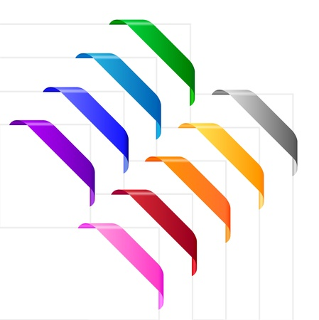 Corner ribbons in various colors. Empty colorful ribbons appropriate for use on corners of websites, leaflets, posters and other purposes.
