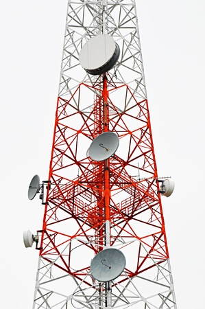 Red and white transmission tower