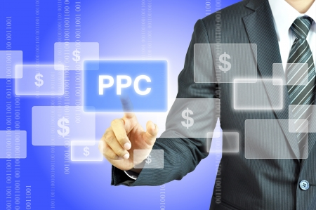 Businessman touching PPC or Pay Per Click sign