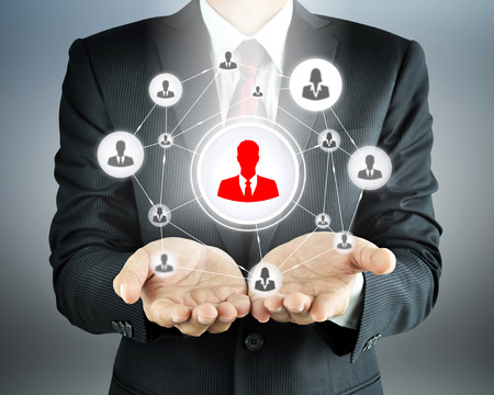 Hands carrying businesspeople icon network - HR, HRM, MLM & teamwork concepts