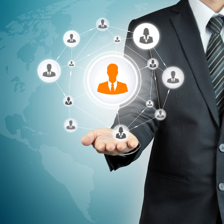 Hand carrying businessman icon network - HR,HRM,MLM, teamwork & leadership concept