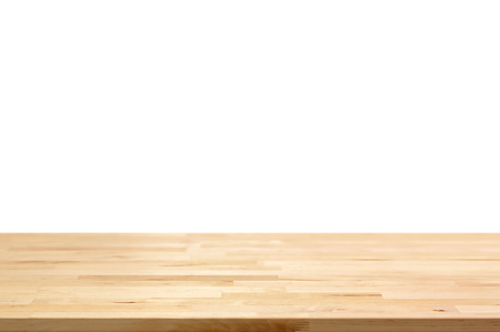 Photo for Empty wood table top on white background - can be used for display or montage your products - Royalty Free Image