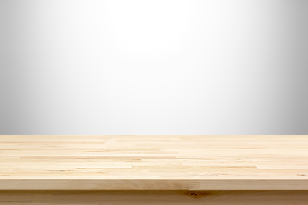 Wood table top on white gray gradient abstract background - can be used for display or montage your products
