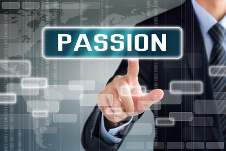 Photo pour Businessman hand touching PASSION word on virtual screen - image libre de droit