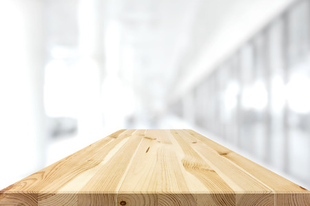 Photo for Natural pattern wood table top on white blur background - can be used for display or montage your products - Royalty Free Image