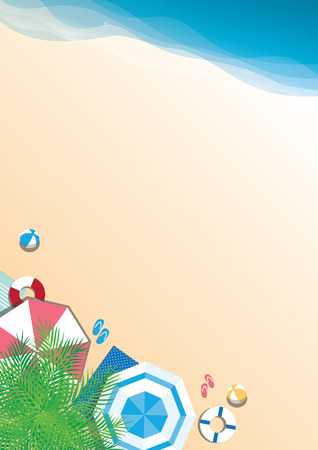 Colorful summer beach vector background - top view with copy space