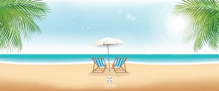 Ilustración de Beautiful summer beach with beach chairs and umbrella - panorama banner - Imagen libre de derechos