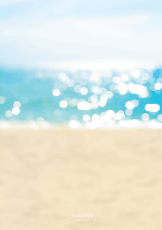 Illustration pour Blurred summer beach with sparkling seawater background - image libre de droit