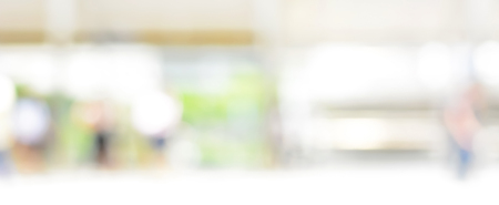 Photo pour Blur white green abstract background from kitchen window, panoramic banner - image libre de droit