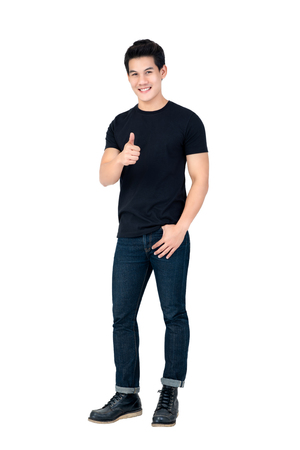 Photo for Casual smiling handsome Asian man giving thumbs up studio shot isolated on white background - Royalty Free Image