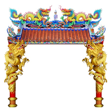 Photo pour Chinese style dragon statue in temple - image libre de droit