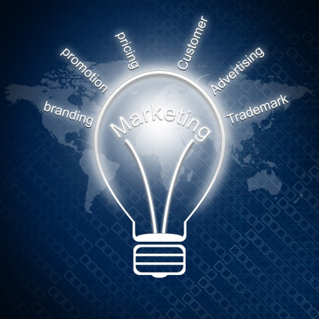 Business concept  Marketing in bulbs