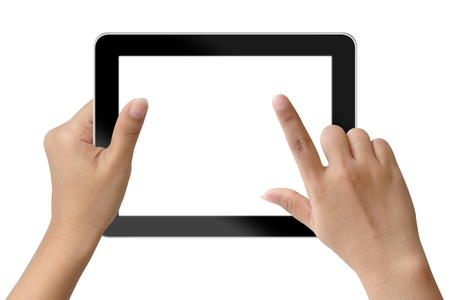 Hand woman holding and touching on tablet-pc