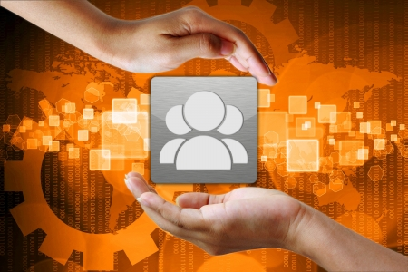 Right Person employee in hand on Abstract business background