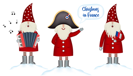 Illustration pour Set Christmas card template. Festive Holidays in France invitation. Cartoon happy Santa Claus in napoleon s hat hails, with french flag and accordion in hand stands in snowdrift, isolated, vector - image libre de droit