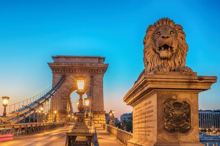 The Szechenyi Chain Bridge Budapest, Hungary in the sunrise