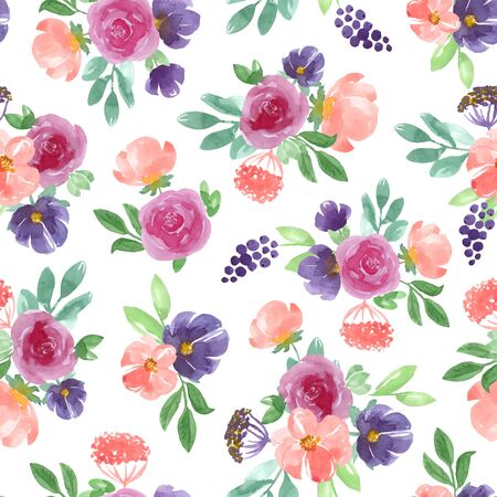 Illustration pour Seamless  pattern with blue, pink handmade flowers and leaves. Vector illustration, isolated on white background. - image libre de droit