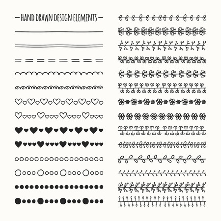 Illustration pour Hand drawn vector line border set and scribble design element. Illustration of doodles. - image libre de droit